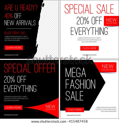 Sale instagram banners. Black friday sale. Template for sale and advertising. Vector illustration. - stock vector