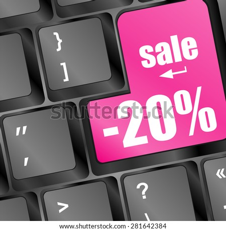 Sale key with percentage in place of enter key vector - stock vector