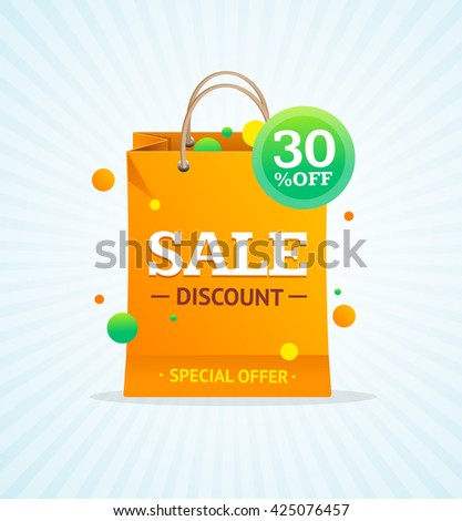 Sale Label Paper Bag. Promotion Concept. Vector illustration