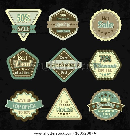 Sale labels and badges design set for best price high quality and exclusive deal isolated vector illustration - stock vector