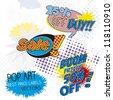 Sale Labels pop art, comic onomatopoeia - stock vector
