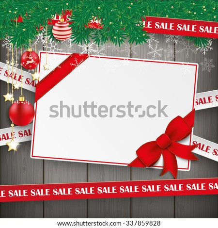 Sale lines with twigs, card and baubles on the wooden background. Eps 10 vector file. - stock vector