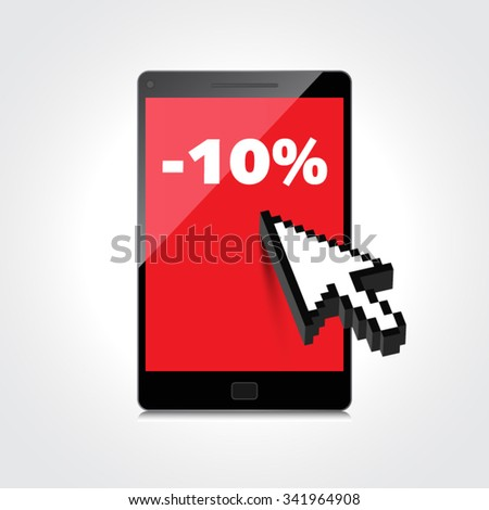 Sale, markdown, discount 10 percent on High-quality smartphone screen. Reduced Prices. Special offer. Shopping badge with percentage discount. - stock vector