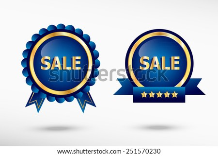 Sale message stylish quality guarantee badges. Blue colorful promotional labels