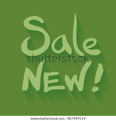 sale new hand written illustration over green color backdrop