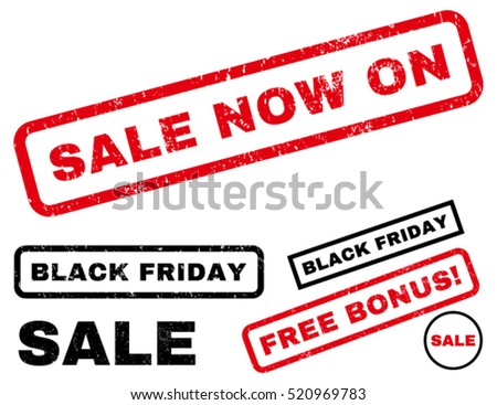 Sale Now On rubber seal stamp watermark with additional design elements for Black Friday sales. Text inside rectangular shape with grunge design and scratched texture.