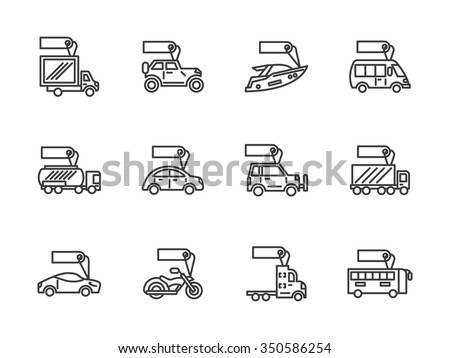 Sale of different mode of vehicles. Car and bus, van and trailer, yacht and motorbike. Signs with label. Set of black simple line vector icons. Web design elements for business, website and mobile. - stock vector