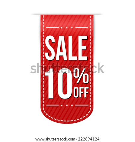 Sale 10% off banner design over a white background, vector illustration - stock vector
