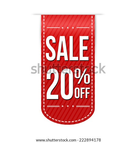 Sale 20% off banner design over a white background, vector illustration - stock vector