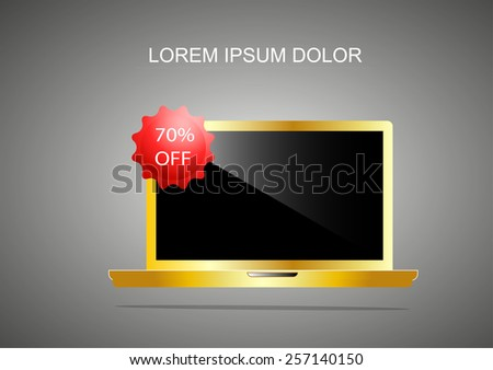 sale off of premier laptop.gold style.Best Buy On Laptop Showing Excellent Sale Or Premium Product. - stock vector