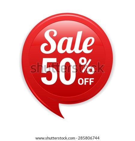 Sale 50% Off Red Label - stock vector