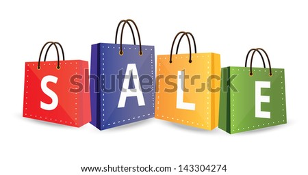 Sale on Shopping Bags - stock vector