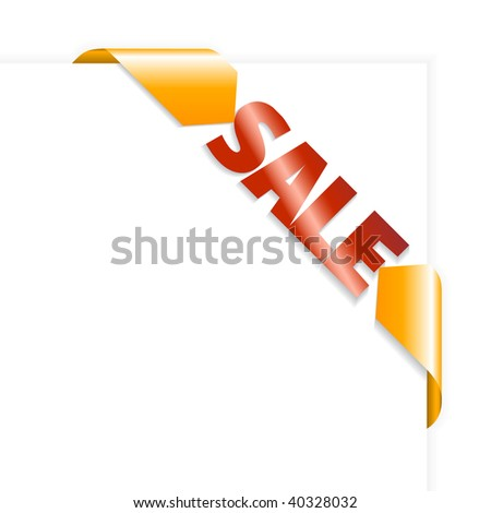 Sale orange and red corner ribbon on white paper - stock vector