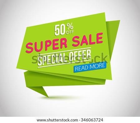 Sale paper banner. Sale background.  50% off. Vector illustration. - stock vector