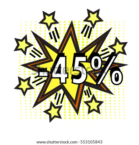 Sale pop art yellow stars over dotted background. vector illustration