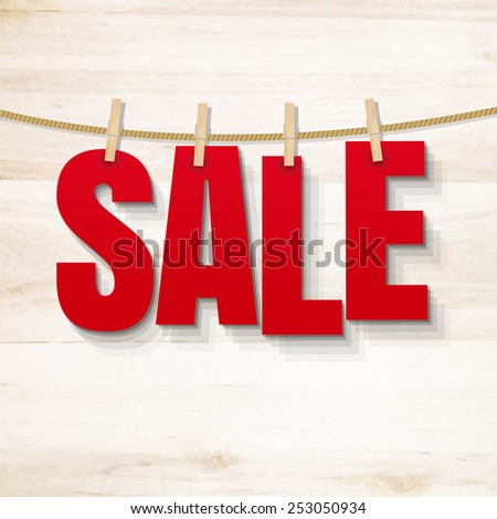 Sale Poster And Wooden Texture, Vector Illustration - stock vector
