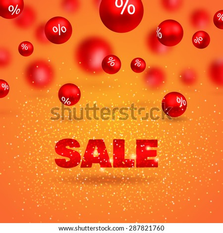 Sale poster. 3d red balls with percents on orange background - stock vector