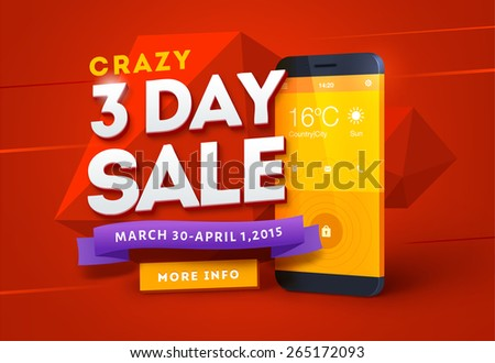 Sale poster design with smart phone