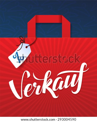 Sale Poster German language calligraphy. Illustration of paper shopping bag and tag - stock vector