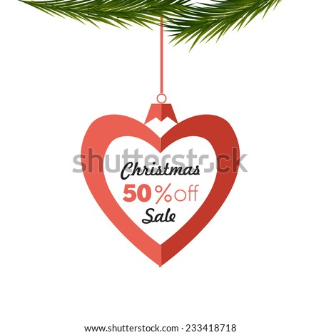 Sale poster.Paper heart shape with Christmas sale - stock vector