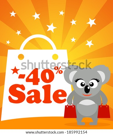 Sale poster with koala vector - stock vector