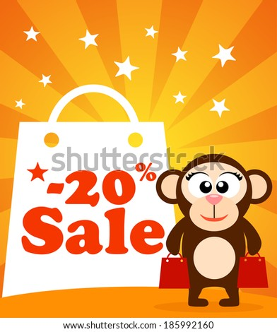 Sale poster with monkey vector - stock vector