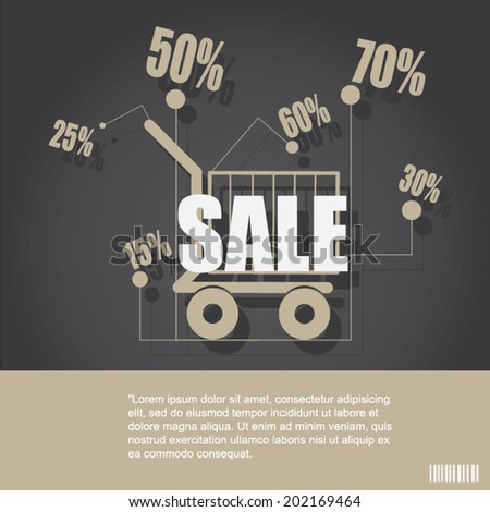 Sale poster with percent discount design template. - stock vector