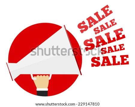 Sale promotion concept, hand holding megaphone and sale words, flat design, vector eps10 illustration - stock vector