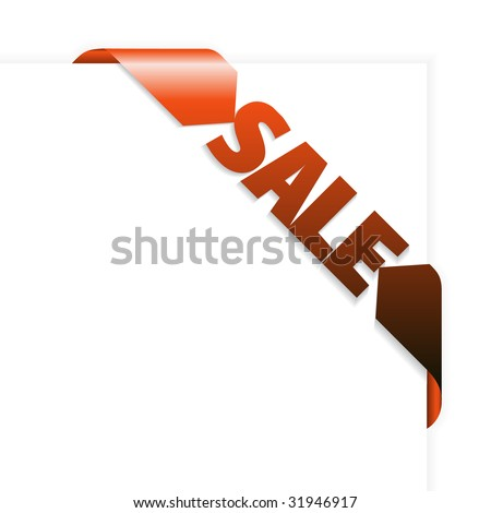 Sale red corner ribbon on white paper - stock vector