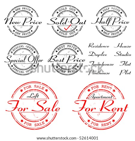 sale, rent, special offer - stamp - vector set - stock vector