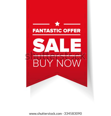 Sale ribbon red vector - buy now - stock vector