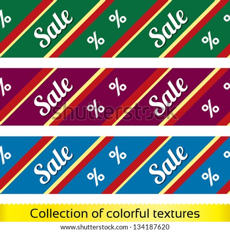 Sale seamless texture with percent discount (vector collection, set). Abstract sale pattern (background). Shopping modern texture. - stock vector