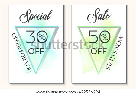 Sale set special offer 30% and 50% off sign text over original watercolor art brush paint texture background vector illustration. Perfect watercolor design for shop discount banners or cards. - stock vector