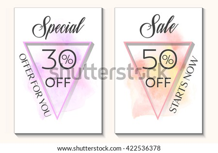 Sale set special offer 30% and 50% off sign text over original watercolor art brush paint texture background vector illustration. Perfect watercolor design for shop sale banners or cards. - stock vector