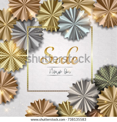 Sale Shop Now Background With Silver Rose Gold Bronze And Flower Shaped