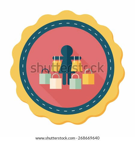 SALE Shopaholic flat icon with long shadow,eps10 - stock vector