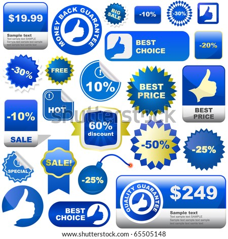Sale shopping labels and tags. Blue set. Vector Illustration. - stock vector