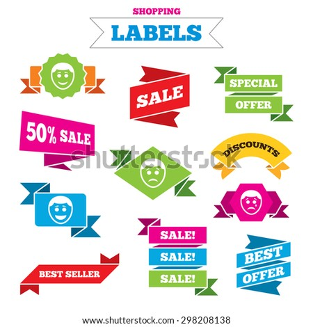 Sale shopping labels. Human smile face icons. Happy, sad, cry signs. Happy smiley chat symbol. Sadness depression and crying signs. Best special offer. Vector - stock vector