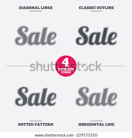 Sale sign icon. Special offer symbol. Diagonal and horizontal lines, classic outline, dotted texture. Pattern design icons.  Vector - stock vector
