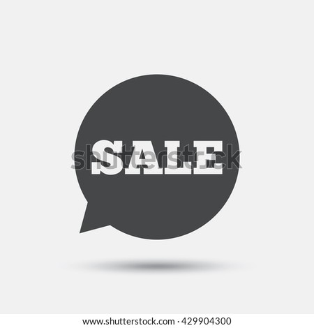 Sale sign icon. Special offer symbol in speech bubble. Flat sale web icon on white background. Vector - stock vector