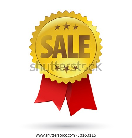 Sale sign label design with tape - stock vector