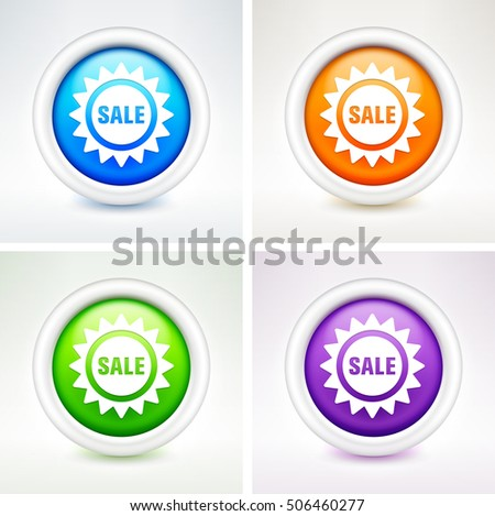 Sale Sign on Colorful Round Buttons