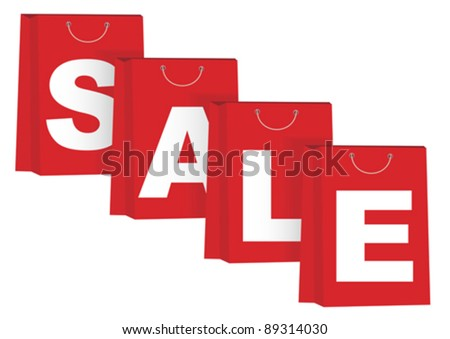 Sale Sign on Red Paper Shopping Bags - Isolated on White
