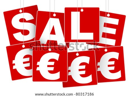 Sale Sign - White Save Euro Sign on Red Background
