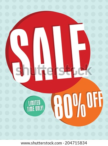 Sale sign with circles and dots 80% off - stock vector