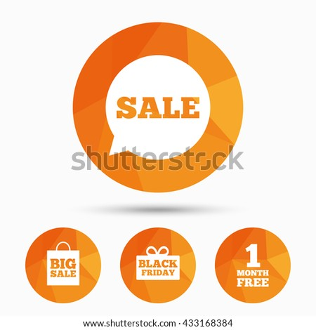 Sale speech bubble icon. Black friday gift box symbol. Big sale shopping bag. First month free sign. Triangular low poly buttons with shadow. Vector - stock vector