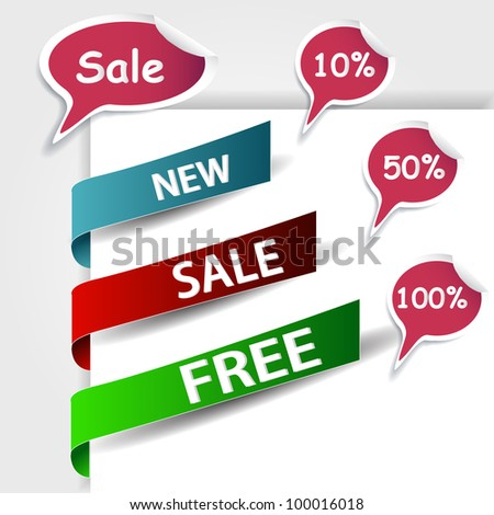 sale stick collection for discount use - stock vector