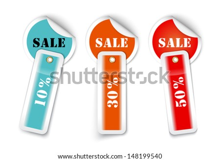 Sale sticker style sign with attached labels. Vector illustration