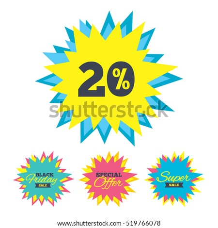 Sale stickers and banners. 20 percent discount sign icon. Sale symbol. Special offer label. Star labels. Vector