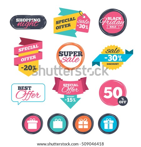 Sale stickers, online shopping. Gift box sign icons. Present with bow and ribbons sign symbols. Website badges. Black friday. Vector